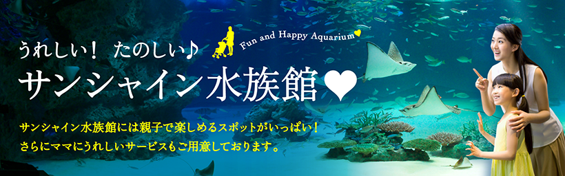 Have a happy and fun time at Sunshine Aquarium♪ Sunshine Aquarium has plenty of attractions that can be enjoyed by parents and their children! We also offer many mom-friendly services!
